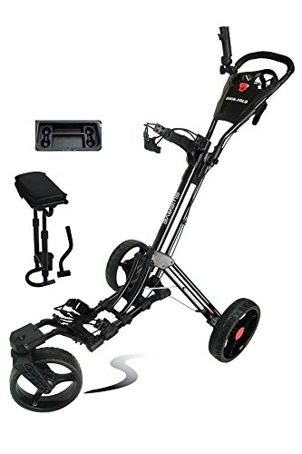Swerve Founders Club 360 Swivel Wheel Qwik Fold Golf Push Cart with Deluxe Seat (Black)