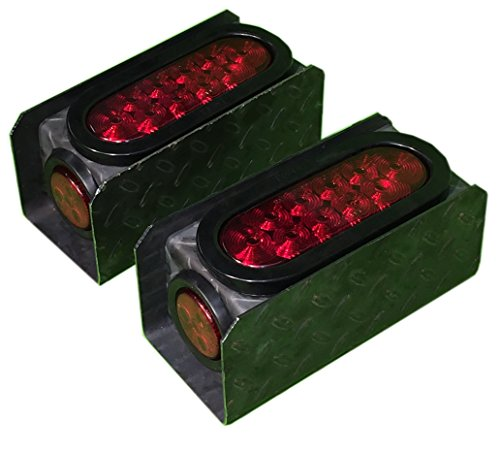ToughGrade TGTPLB-1 Steel Tread Plate Trailer Light Boxes with LED Oval Tail Lights & LED Red Round Side Lights, 2 Count