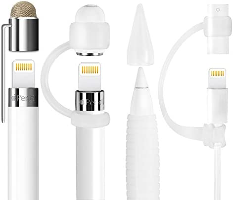 [5-Piece] MEKO Accessories for Apple Pencil Cap Holder/Nib Cover/Lightning Cable Adapter Tether/ 2 in 1 Fiber Cap as Stylus/Soft Silicone Protective Grip for iPad Pro Pencil