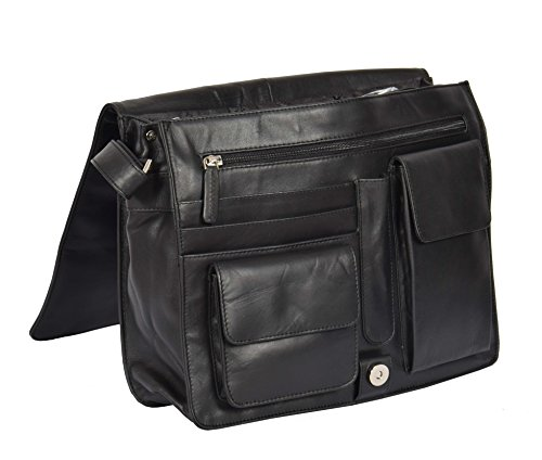 Body LARGE Leather Flap Womens Bag Over Work Cross A53 Bag Black Shoulder 8Xqq0gF