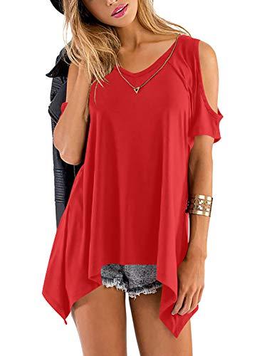 Beluring Women Summer V-Neck Cold Shoulder T-Shirts Soft A-Line Tunic Tops (Red, S)