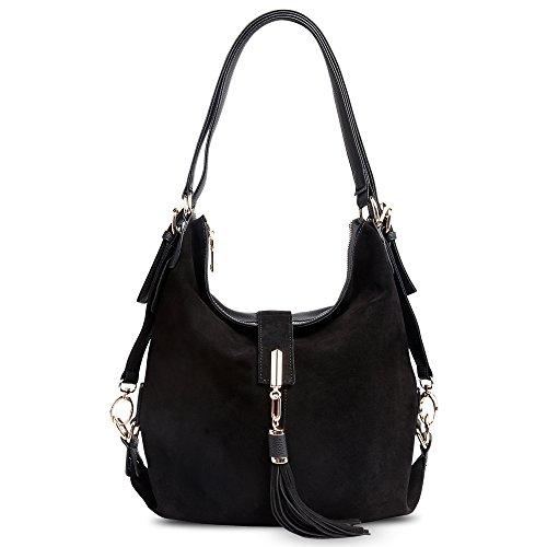 Nico Louise Women Genuine Suede Leather Tassel Handbag Backpack Shoulder Bag ()