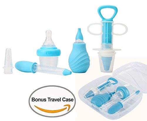 SunBaby 6-Piece Medical Kit with Bonus Travel Case, Baby Infant Toddler BPA Free Medical Kit Medicine Dispenser, Sure-Dose Medicine Dropper / Infant Baby Essentials Kit Medicine Set (Blue)