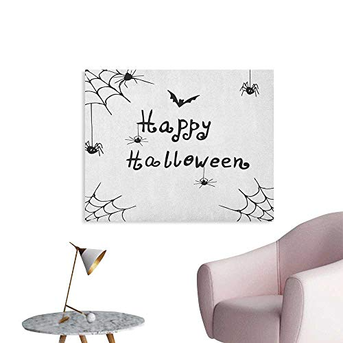 Anzhutwelve Spider Web Wallpaper Happy Halloween Celebration Monochrome Hand Drawn Style Creepy Doodle Artwork Poster Paper Black White W48 -