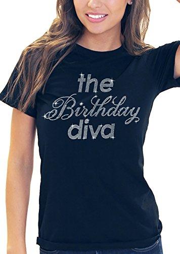 Birthday Diva T-shirt (The Birthday Diva Rhinestone Women's T-Shirt X-Large)
