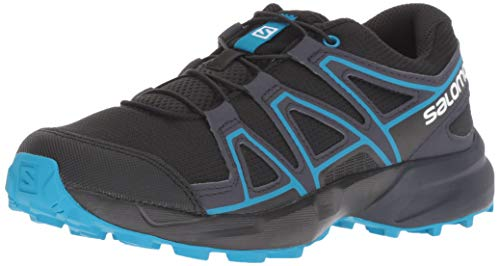 Salomon Kids Speedcross J, Trail Running Shoe, black / graphite / hawaiian surf ,  Child 5 (Best Running Shoes For Children)