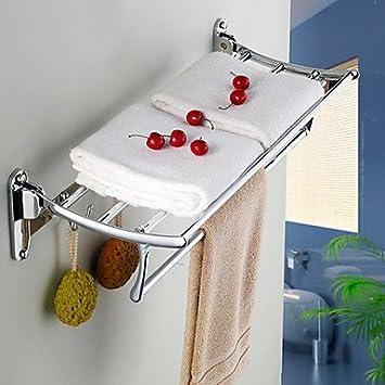 ZYT Tiburón de pescado d acero inoxidable cromado doblado baño toalla estante baño hardware baño estantes de vidrio: Amazon.es: Hogar