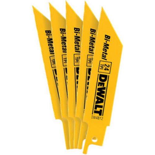 4in Reciprocating Saw Blade - DEWALT DW4812 4-Inch 24 TPI Straight Back Bi-Metal Reciprocating Saw Blade (5-Pack)