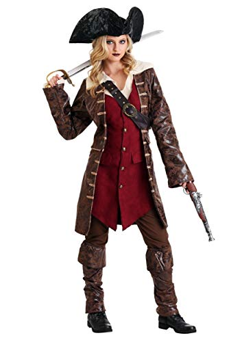 Women's Caribbean Pirate Costume Deluxe Pirate Costume Women Large Brown for $<!--$59.99-->