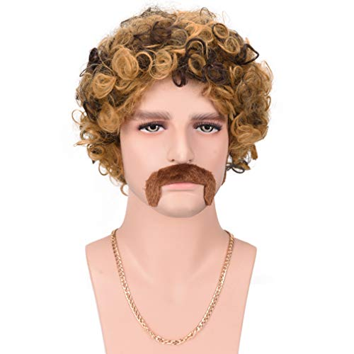 Halloween Costumes With An Afro (REECHO Disco Short Curly Wig for Men Afro High-end 70'S Party Halloween)