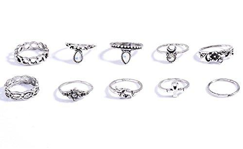 Orientalisches Vintage Midi Ring Midiringe Set mit Kristallsteinen, Elefant, Kreuz, Halbmond und Verzierung zehnteilig in Gold und Silber-Optik von DesiDo® (Silber)