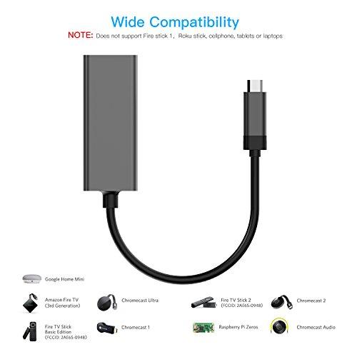 Basstop Ethernet Adapter for TV Sticks, Amazon Fire TV Device, Chromecast Ultra / 2 / 1 / Audio, Google Home Mini, Raspbbery Pi Zero, Micro USB to RJ45 Ethernet Adapter(Gray) by BASSTOP (Image #3)