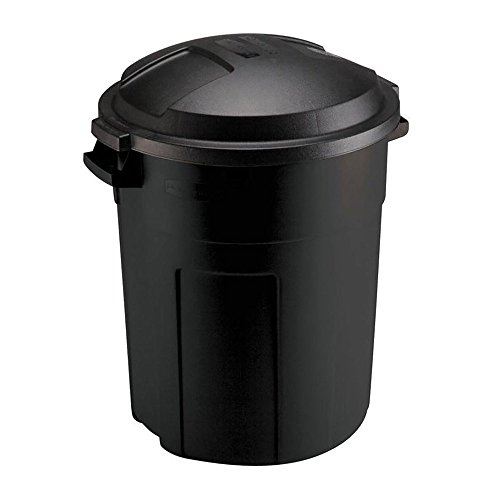 (TRASH CAN WITH LID 20 Gal Outdoor Yard Waste Recycle Bin Heavy Duty Round Black)