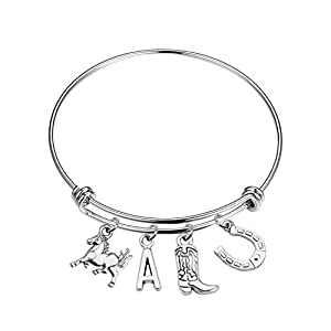 Lucky Horse Charm Bracelet Gift for Women Girls 26 Initial Charm Horse Bangle Bracelet Horse Lover Gifts