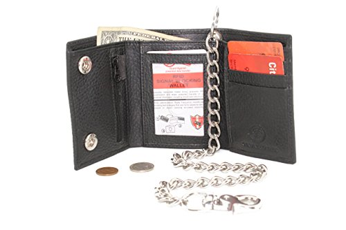 Mens Cowhide Leather Trucker Biker Trifold Steel Chain Wallet with Gift Box (Black JTC 11153 RFCW) Cowhide Tri Fold Wallet
