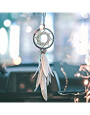 Alynsehom Dream Catcher Car Interior Rearview Mirror Hanging Decor Handmade Grids Nature Feather Small Boho Car Charms Pendant Accessories