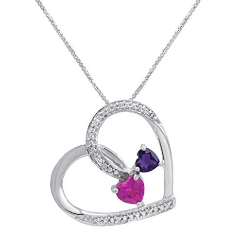 (Created Pink Sapphire with Natural Amethyst and Diamond Double Heart Pendant Necklace)