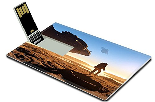 Luxlady 32GB USB Flash Drive 2.0 Memory Stick Credit Card Size A silhouette of an astronaut in sunlight IMAGE 20454493