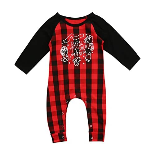 1d6fade8efaf Urkutoba Baby Boy Girl Print Xmas Plaid Romper Long Sleeve Christmas ...
