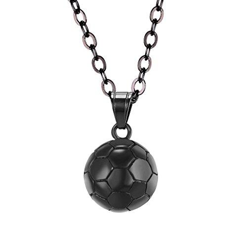 U7 Soccer Pendant Necklace Black Plated Stainless Steel Chain Boys Girls Sport Fan Gift Jewelry