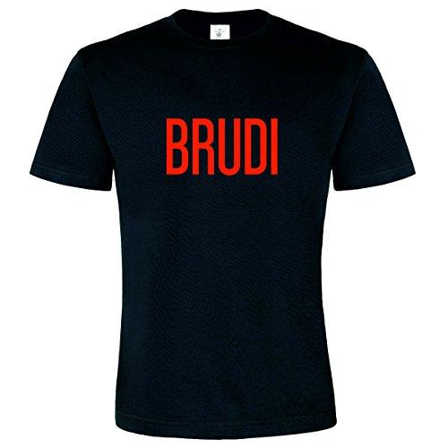 T-Shirt Brüdi Brudi Shirt Spruch T-Shirt Shirt original B&C Cooler Spruch Spaß T-Shirt Farbe Schwarz Druck Rot