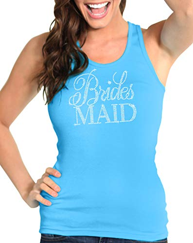 Bachelorette Bridal Party Turquoise Shirts - Flirty Bridesmaid Rhinestone Tank Top - Wedding Party Supplies - Small - ()