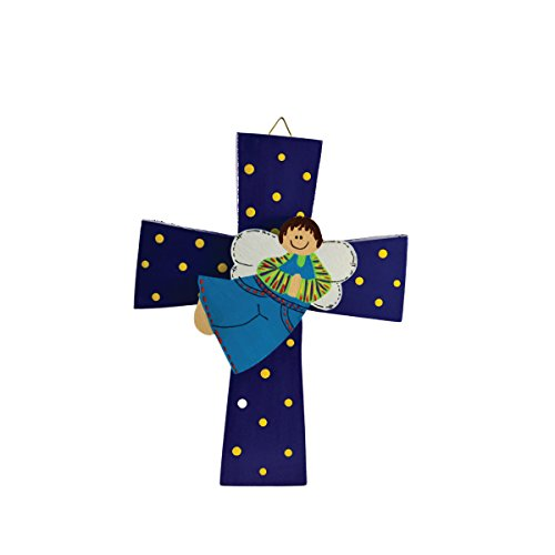Costa Rican hand painted wall cross with angel (Medium - Blue)