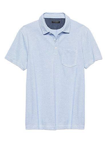 - Banana Republic Mens Three Button Birdseye Pique Cotton Pocket Polo Shirt Light Blue Striped (Large)
