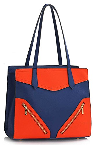 LeahWard Women's Nice Large/Oversize Shoulder Bags Ladies Tote Designer Bag Shopper Handbags 00405-Blue/Orange (37x14.5x30cm)