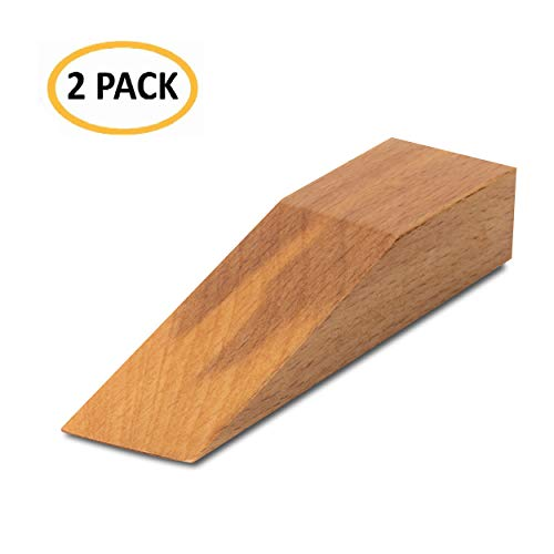 mise home Wooden Anti-Slip Decorative Door Stopper Hand Made for All Surfaces Home & Office Door Stop 2 Pack (Naturel)