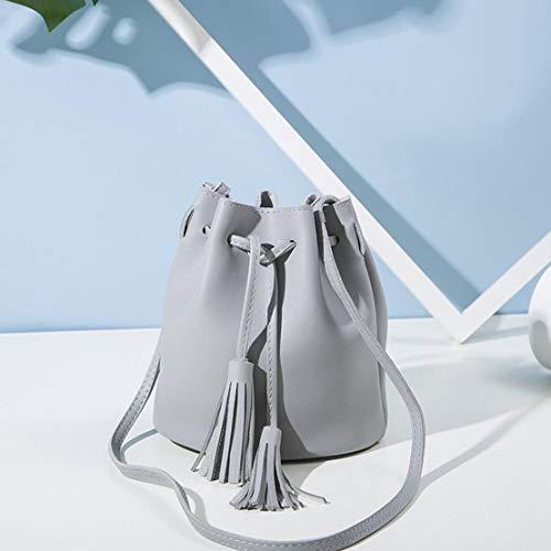 de la PU de vendimia Crossbody Casual de cuero cordón del bolso de con mujeres Sanzhileg borla bolsa las Color la solo hombro regalo de pequeñas sólido de cubo bolsas qwanZpX