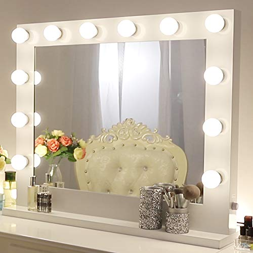 Chende Vanity Mirror with Light Hollywood Makeup Mirror Wall Mounted Lighted Mirror 14 Free LED Bulbs 31.5 x 25.6