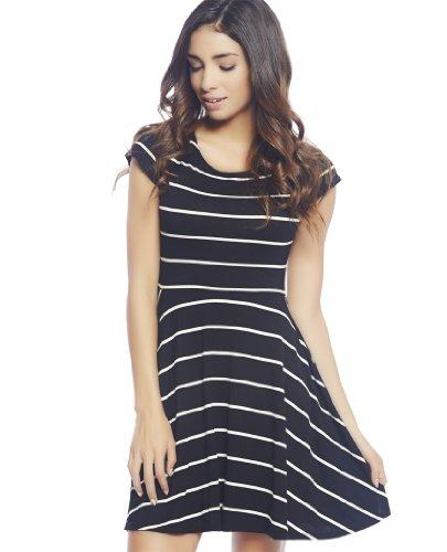 Wet Seal Women's Striped Skater Dress M Black/White