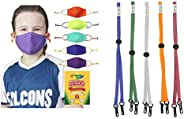 Crayola Kids Face Mask in Cool Colors with SchoolMaskPack Mask Lanyard Straps in Brights