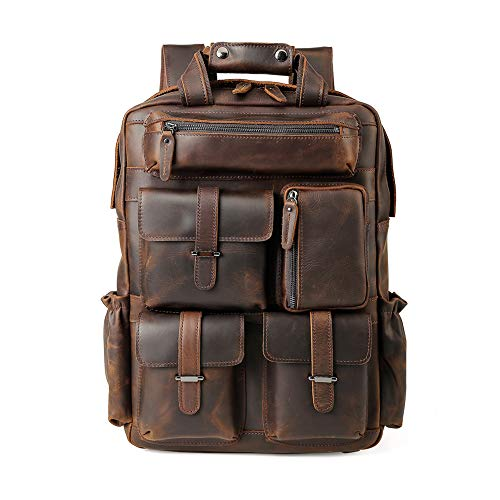 (Men's Vintage Classic Leather Travel Weekender Casual Outdoor School Multi-pockets Case 15.6 Inch Laptop Luggage Suitcase Daypack Overnight Backpack Shoulder Bag Tote Handbag Brown)