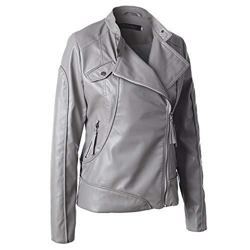 Moto Size Marrón M Y Gray Chengzuoqing Cuero Chocolate Gray Las Señoras Para Mujer color Chaqueta Delgada De Corta Chaquetas gwgHv
