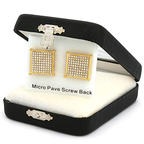 New Men's Hip Hop Iced Out Medium Square Flat Screen Block Screw Back Stud Earring (Town Square Las)