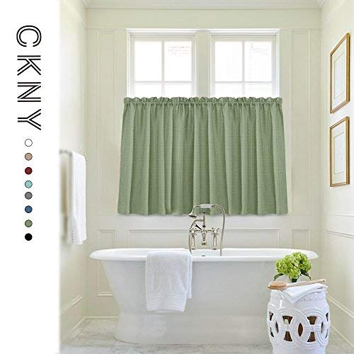(Waffle-Weave Textured Tier Curtains for Kitchen Water-Proof Window Curtains for Bathroom (72-inch x 36-inch, Sage, Two Panels) )