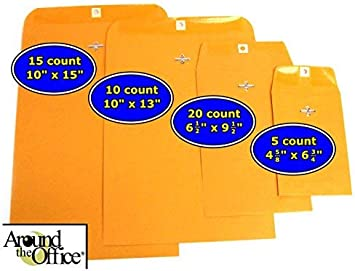 Amazon Com 50 Clasp Envelopes Multiple Sizes 15 Count 10 X 15 10 Count 10 X 13 20 Count 6 1 2 X 9 1 2 5 Count 4 5 8 X 6 3 4 By Around The Office Office Products