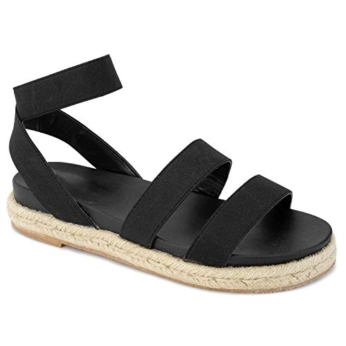 RF ROOM OF FASHION Women's Ankle Elastic Strap Espadrille Flatform Slide On Sandals Black Size.8
