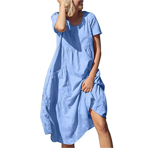 - TIANMI Women Solid O-Neck Short Sleeve Pockets Cotton Linen Loose Beach Casual Dress Blue