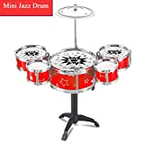 Plohee Kids Toy Jazz Drum Kit Musical Instrument Toy Early Educational Toy (Red)