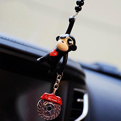 YGMONER Wearing Sunglasses Monkey Car Charm Interior Rear View Mirror Hanging (black & brake - Sunglasses Charm Charm &