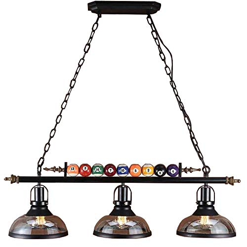 GLXDDB Nordic Style Wrought Iron Chandelier Light Black Billiard Decoration 3 Lights Billiard Hall Chandelier Restaurant Cafe Bar Club Bedroom Lighting