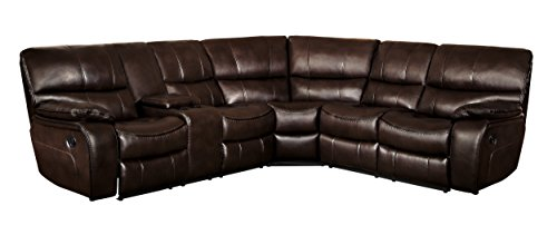 (Homelegance Pecos 3-Piece Reclining Sectional Sofa Leather Gel Match, Brown)