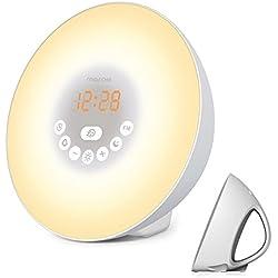 Sunrise Alarm Clock, Digital Clock & Wake Up Light with 6 Nature Sounds, FM Radio, Touch Control and USB Charger, Sunrise Simulator Alarm Clock