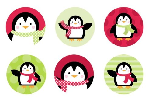 Winter Penguins {Red & Green} Edible Cupcake Toppers Decoration