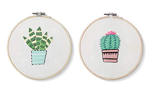 2 Pack Cross Stitch Kits Flowers Palm Catus Plant Stamped Patterns Craft Supplies for Kids Embroidery Beginner Starter (Cactus) ()