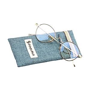 SOOLALA Mens Lightweight Retro Round Metal Prescription Glass Frame Reading Glass, BlackGold, +3.0