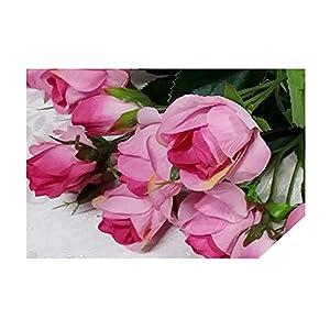 Artificial Flowers 4 Bundle Fake Flowers Silk Artificial Roses Bridal Wedding Bouquet for Home Garden Party Wedding Decoration 4